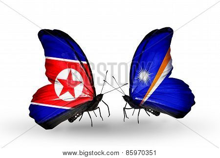 Two Butterflies With Flags On Wings As Symbol Of Relations North Korea And Marshall Islands