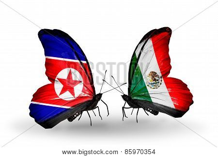 Two Butterflies With Flags On Wings As Symbol Of Relations North Korea And  Mexico