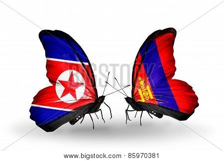 Two Butterflies With Flags On Wings As Symbol Of Relations North Korea And  Mongolia