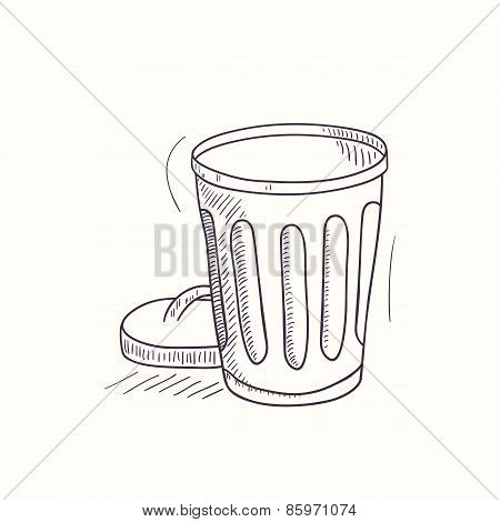Sketched Empty Trash Bin Desktop Icon