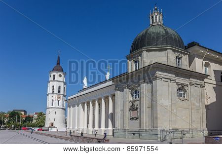 Cathdral And Belfry In The Center Of Vilnius