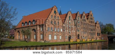 Salt Storage Buildings Along A Canal In Lubeck