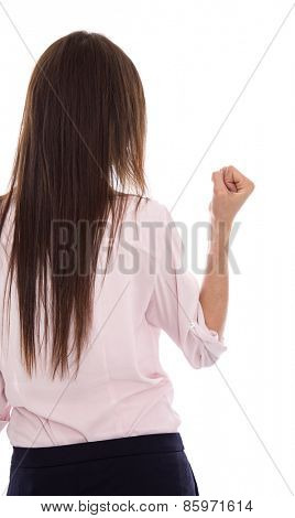Isolated woman with long hear raising up her fist. Symbol for success and career.