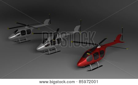 Three Helicopters On Gray