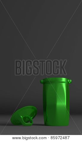 ?green Glossy Rubbish Bin