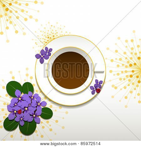 Springtime African Violet With Cup Of Coffee