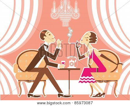 Vector Couple Of Man And Woman In Vintage Illustration