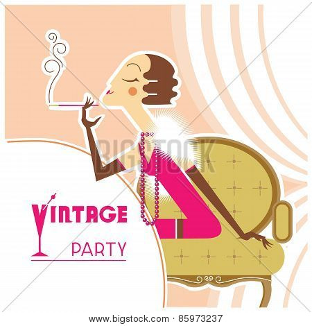 Vector Vintage Party Flapper Girl With Sigaret