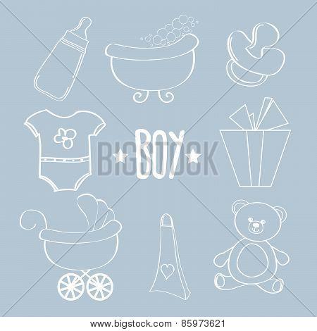 Linear Baby Boy Items Set