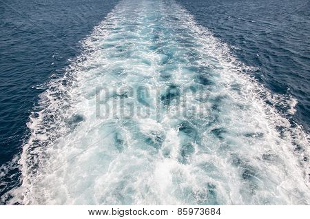 Boat Trail In The Sea