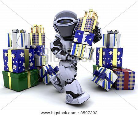 Roboter mit großen Stack von Geschenken