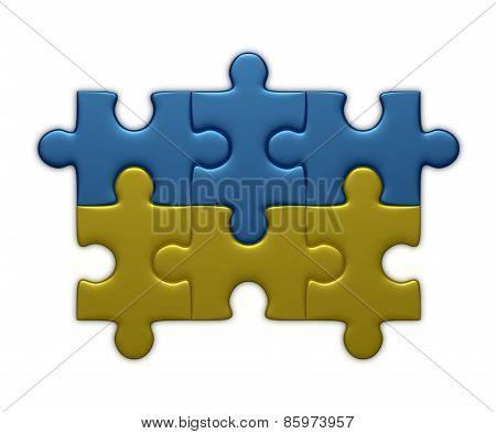 Ukrainian Flag Of Puzzle Pieces