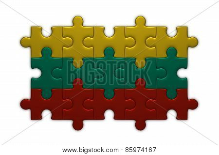 Lithuanian Flag Of Puzzle Pieces