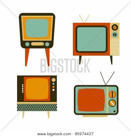 Retro Tv Items Set