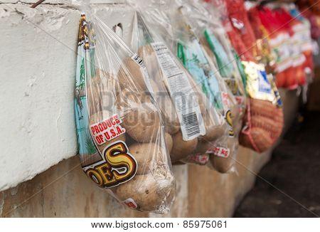 Farmers Market Hanging Potatoes
