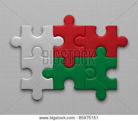 Madagaskar Flag Of Puzzles