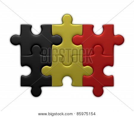 Belgian Flag Of Puzzle Pieces