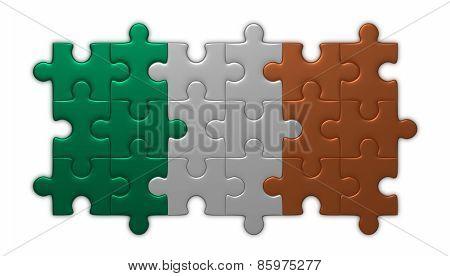Irish Flag Of Puzzle Pieces