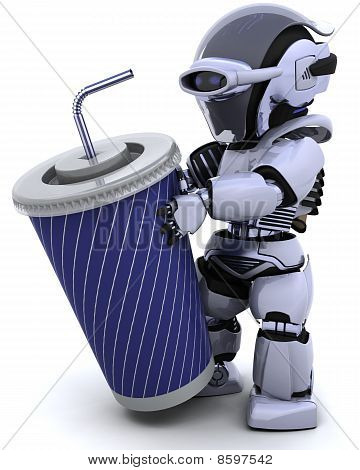 Robot With A Giant Soda Cup And Straw