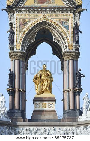 Detail of Albert Memorial, in Kensington Gardens, in London. The monument was commissioned by Queen Victoria in memory of her husband, who died in 1861.