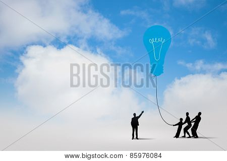 Little silhouettes of people pulling light bulb on rope