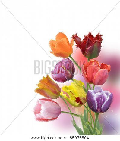 Digital Painting Of Tulip Flowers