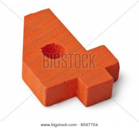 Orange Wooden Toy Figure Four