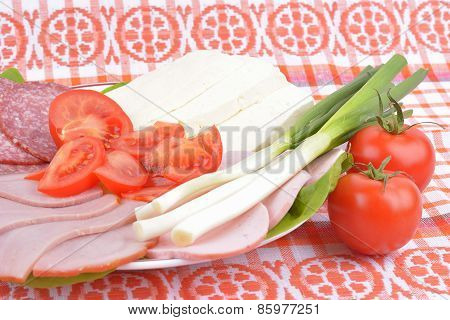 Food On Romanian Traditional Towel