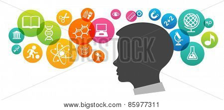 The concept of modern education.  Template with silhouette of the baby's head surrounded by science and education icons in brightly colored circled. The generation of knowledge.