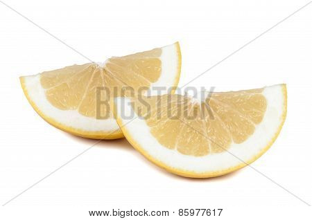 Grapefruit Pieces On White Background