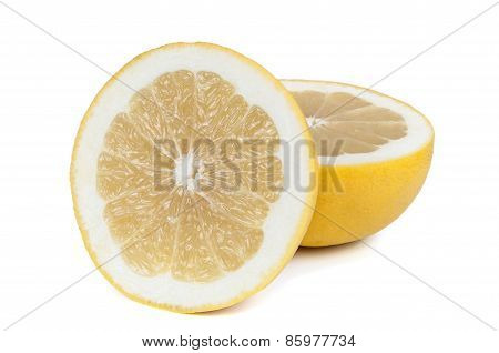 Halves Of Grapefruits On White Background