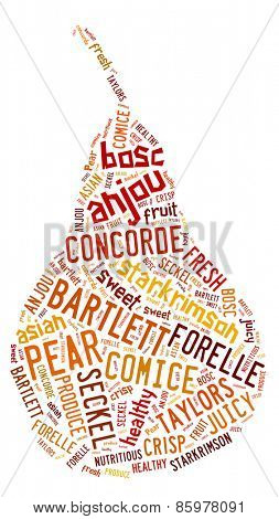 Word cloud in the shape of a pear showing words that deal with the different varieties of pears