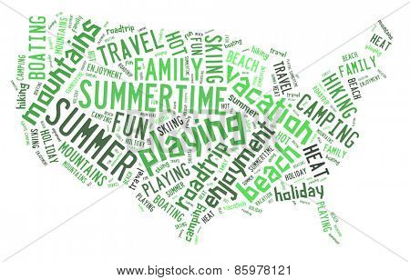 Word cloud in summer colors showing words dealing with a fun summertime vacation in the shape of the United States