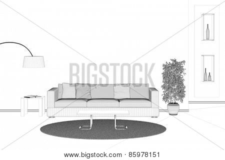Room planning with sofa in living room as CAD model (3D Rendering)