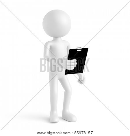 White 3D guy with clipboard for quality check (3D Rendering)