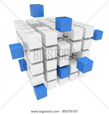 Business teamwork concept with many flying cubes and blocks (3D Rendering)