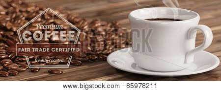 Advertisment for a fresh cup of Fair Trade Coffee (3D Rrendering)