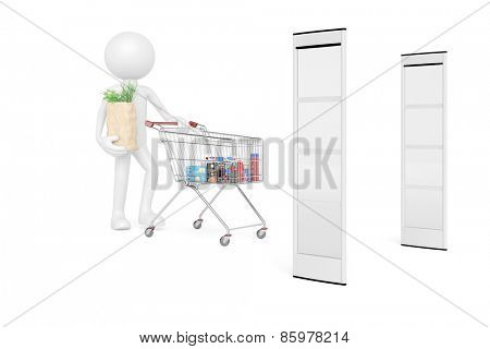 Customer with shopping cart in front of retail security in supermarket (3D Rendering)