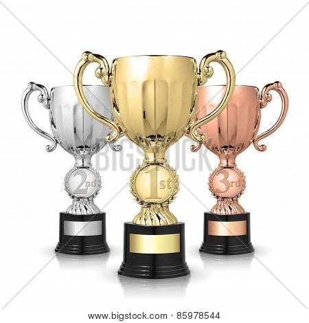 Trophies On White