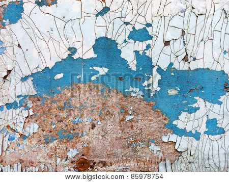 Creative Background Beautiful Concrete Carelessly Painted White And Blue Paint, Cracks And Scratches
