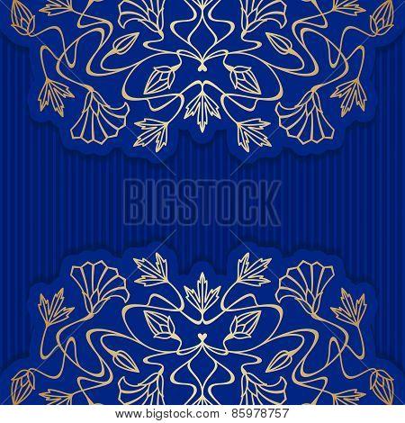 Vector blue Art Nouveau background.