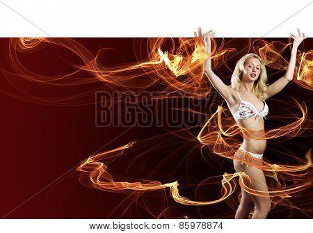 Young girl in bikini with white blank banner