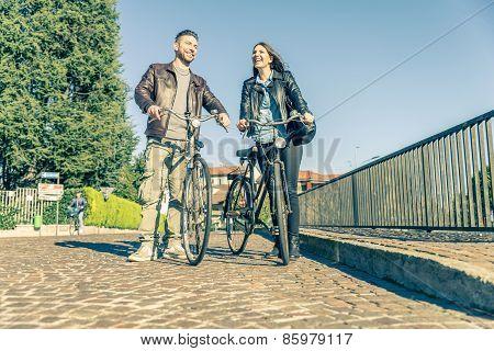 Couple Riding On Bikes