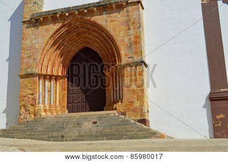 Silves Cathedral door in the Algarve, Portugal