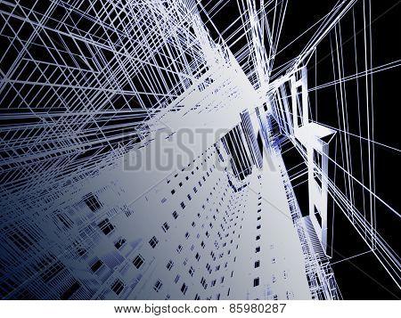 Abstract modern building. 3D render Illustration.