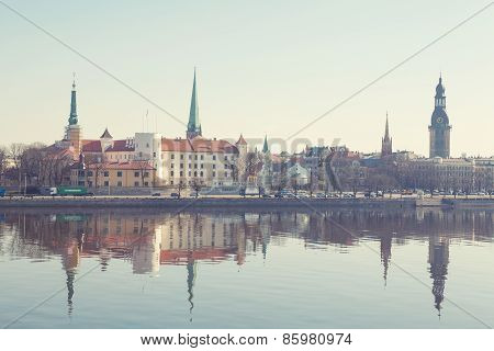 Scenery of Riga center with reflection in Daugava