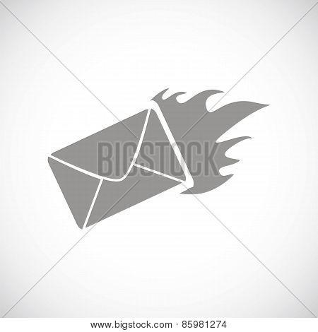 Hot letter black icon