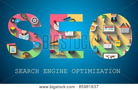 SEO Search engine optimization concept with abstract designs behind. Modern conceptual and high tech background.