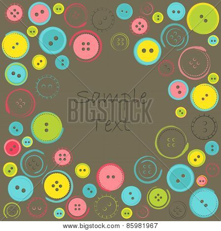 Decorative Frame With Circle Of Buttons Over Dark