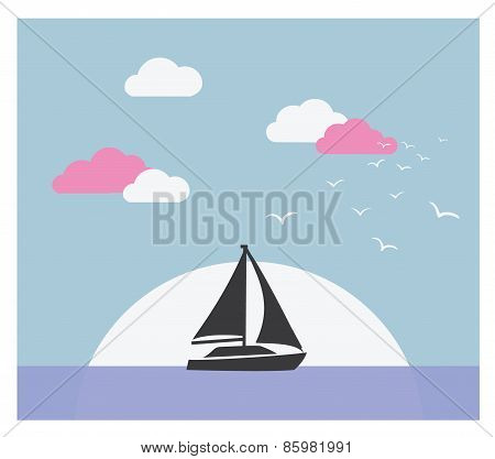 Vector card with sailboat against sunset
